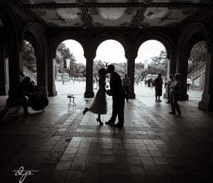 The walkway with beautiful arches and Bethesda Fountain in the background.
